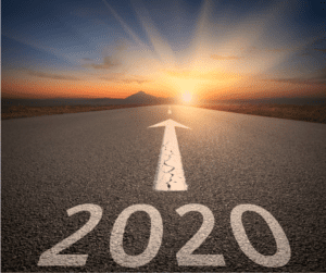 2020 written on a road