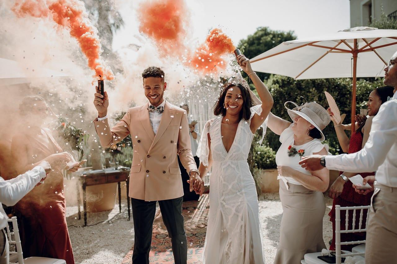Black couple om their wedding day