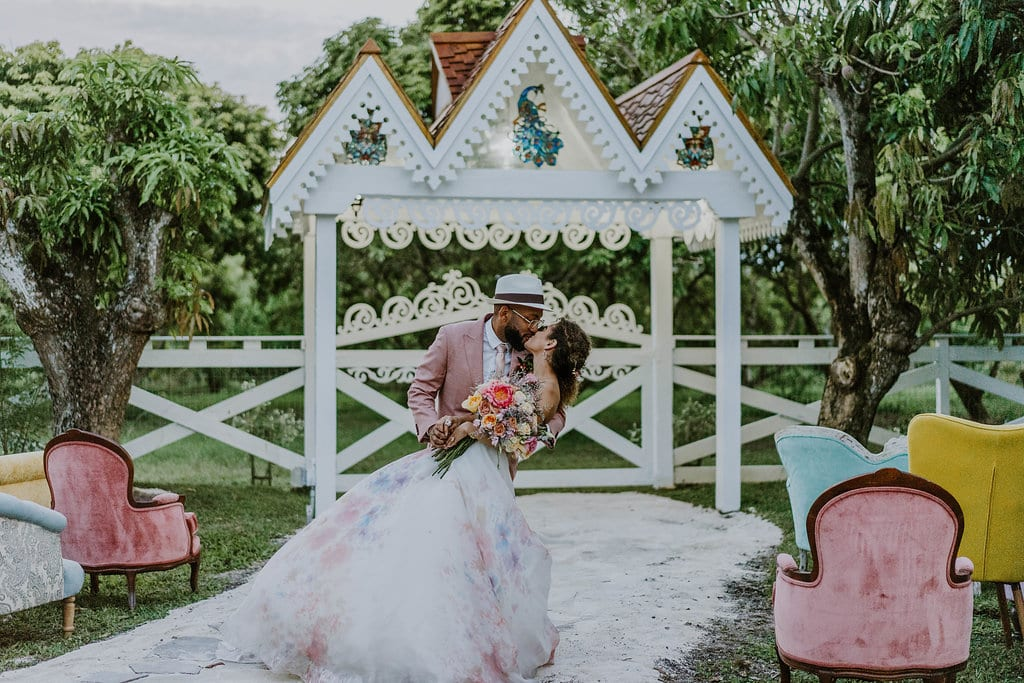 Black wedding couple kissing
